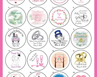 """WEDDING Favor Labels, 2"""" Round Personalized Custom Labels - 20 per sheet"""