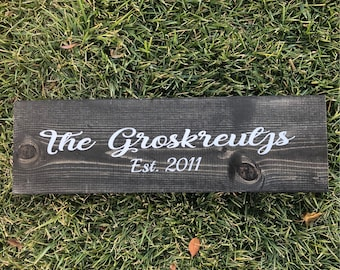 Last Name Sign- Wedding Gift-Personalized Gift- Wooden Last Name Sign - Customized sign - est sign - Newly Wed