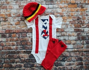 READY TO SHIP First Birthday Baby Boy Tie Bodysuit w Newsboy Hat w Button Leg Warmers - Mickey Inspired First Birthday - 18 Months
