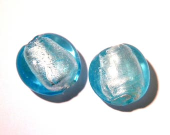 glass bead lampwork-23 mm - silver foil - 2 glass bead is hand-G149-3