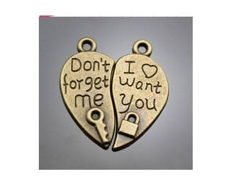 Set of 3 separate heart gift duo charm ' t forget me / I want you bronze (T45)