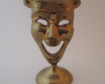 Vintage Comedy Mask, Brass Mask, comedy and tragedy, brass home decor, solid brass decor, face statue, theater masks, brass statue