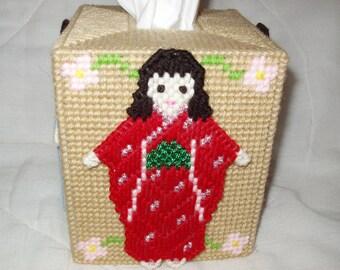 Tissue Box Cover Japanese Dolls in Kimono  Plastic Canvas Needlepoint