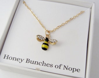 Bumble Bee Necklace - Honey Bunches of Nope Necklace - Face Your Fears Gift - Antique Silver Jewelry - Inspired by #theinternetnamesanimals