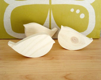 Bird in raw wood, set of 3 pieces, home decor, Scandinavian style minimalist, father's day