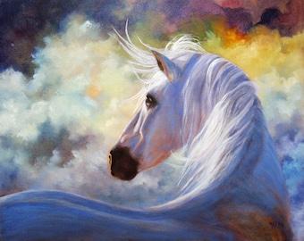 Horse Print Poster, Horse Art, White Horse, Equine Art, Wall Decor, Wall Art, Home Decor