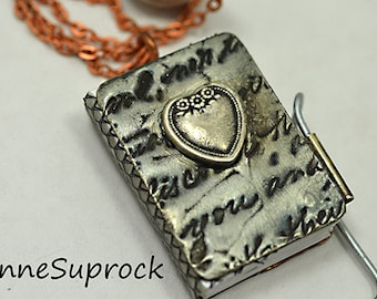 LIttle Book Necklace - heart love
