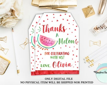 Watermelon Thank You Tags, Fruit Watercolor Favor Tags Printable, Watermelon Birthday Party, Summer Favor Tags, Aloha Tags, Digital File