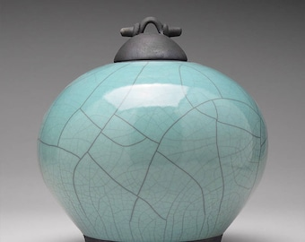 Large,Ceramic jar,Raku, turquoise green pottery lidded urn, Raku Jar with lid,large urn, large jar, ,handmade
