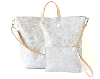 Nicole - Handmade Silver Hair On Hide Leather Tote Bag With Detachable Clutch