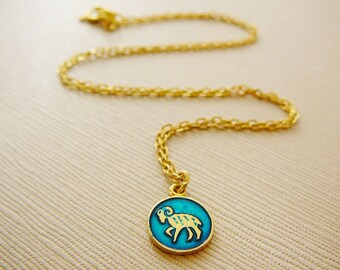 Vintage .. Necklace, Charm, Chain Aries Ram Turquoise Blue Horoscope Goldtone
