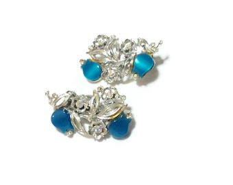 Vintage Rhinestone and Blue Thermoset Earrings