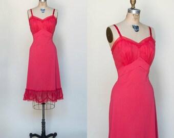 1960s Shadowline Slip --- Vintage Red Nylon Slip