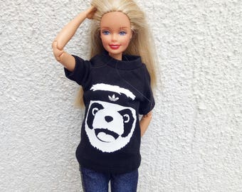 Barbie Clothes Top Panda Shirt Adidas 1/6 Scale