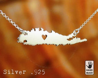LONG ISLAND Map Handmade Personalized Sterling Silver .925 Necklace in a gift box