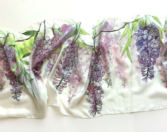 Wisteria Silk Scarf Hand painted Silk Floral silk shawl White silk scarf handpainted Watercolor Silk painting Wedding accessory Gift for mom