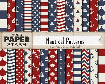 Nautical Digital Paper, Navy Blue & Red Sailor Scrapbook Paper With Sailboat, Sailor Hat, Fish, Lighthouse, Raindrop, Anchors, Commercial