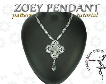 ZOEY Pendant pattern with PUCA beads (Tinos, Arcos, Kheops), DIY tutorial