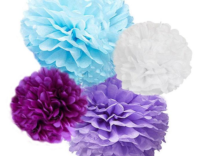 Lavender Tissue Poms, Frozen Tissue Paper Pom Poms, 4 Piece Set Light Blue Lavender White Plum, Decorations, Birthday, Nursery, Frozen Party