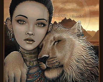 African Tribal Princess Lion Big Cat Fae 8x10 Signed PRINT Zariel Akachi
