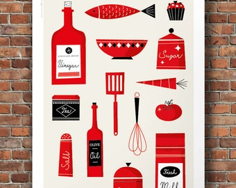 Mid century modern kitchen illustration, Kitchen wall art, kitchen decor, Mid century kitchen print, Size A2 or 16x20
