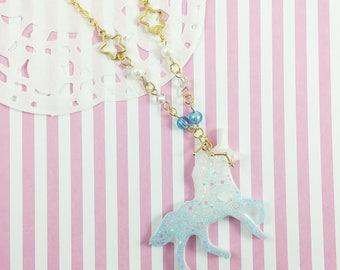 Celestial Blue Unicorn Necklace | Fairy Kei Necklace | Lolita Unicorn Necklace|  Mahou Kei Unicorn | Kawaii Necklace | Cosmic Unicorn |