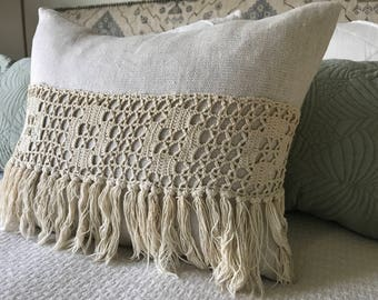 Freida Fringed Linen Pillow