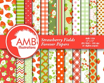Strawberry digital papers, Strawberry paper, Strawberries scrapbook papers, Red and green Berry Papers, commercial use, AMB-497