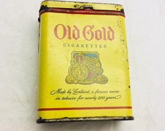 Vintage Old Gold Cigarettes tin box CigaretteTobacco tin.