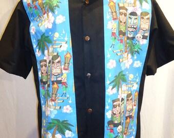Star Trek Tiki Shirt  Kirk and Spock Hawaiian Tiki, Made to order up to Men's 6X