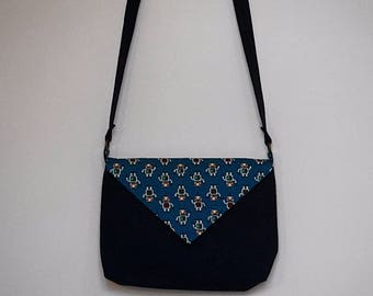 Flap bag - Navy Blue and robots pattern