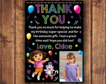 Dora The Explorer thank you card, Dora The Explorer birthday card,  Dora thank you card, Dora card,  Chalkboard, Boots, Dora The Explorer