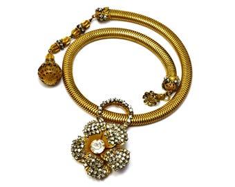 Vintage Miriam Haskell signed rose montee rhinestone flower snake chain choker necklace