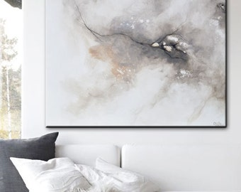 GICLEE PRINT Large Art Abstract Painting Grey White Canvas Print Home Decor Wall Art Large Art Minimalist Artwork Select SIZES - Christine