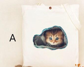 Cute Cat Tote Bag, Handmade, Good for shopping, school, Dual handles