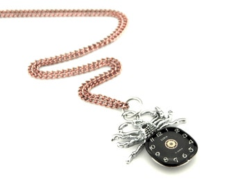 Clockwork Arachnid Necklace - Watch Face Tarantula Necklace - Halloween Spider Pendant -  clockwork spider pendant - Steampunk gift idea
