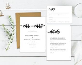Mr and Mrs Wedding Invitation Template | Modern Wedding Invite Printable | Calligraphy Wedding Invite Template Download | Mr & Mrs Invite
