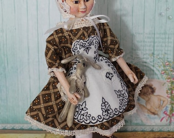 Elsa  Izannah Walker Style Dolls Civil War 19th century 9 inch