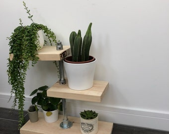 Reclaimed Scaffold Board Indoor Plant Stand In A Rustic Industrial Style