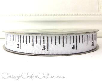 "Twill Ribbon, 5/8"" wide,  White Measuring Tape Print - TWENTY FIVE YARD Roll - d. stevens, ""White"" Twill Tape Measure Ribbon"