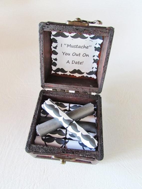 Men Christmas Gift Idea, Mustache Date Night Scroll Box, Mustache Gift, Husband Christmas, Boyfriend Christmas, Men Christmas Idea, Stocking