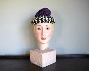 1940s hat . vintage 40s cellophane straw hat