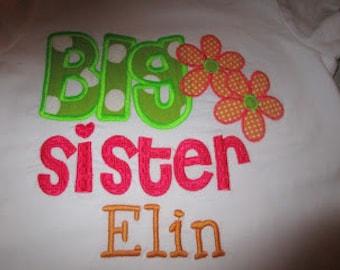Big Sister Flower Applique Shirt