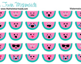 Watermelon Emojis Planner Stickers