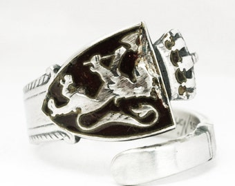Rare Nordic Lion Ring, Norwegian Coat of Arms, Norne Sterling Silver Spoon Ring, Vintage 1950 Spoon With Enamel, Adjustable Ring Size (7142)