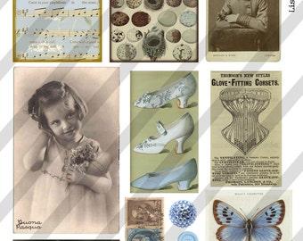 Digital Collage Sheet Light Blue Vintage Images  (Sheet no. O79) Ephemera-Instant Download