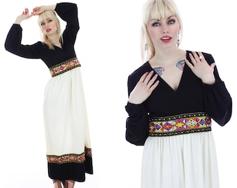 60s Cocktail Dress Mod Empire Waist Embroidered Trim Hippie Boho Formal Maxi Futura Couture NY Sixties Small S Medium M