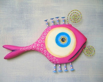 Pink Goldfish, Fish Wall Art, Original Found Object Wall Sculpture, Wood Carving, Pink Fish, Wooden Fish, by Fig Jam Studio