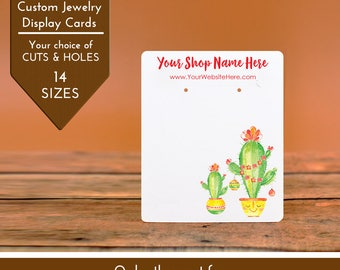 Customize Jewelry Display Cards -  Christmas Cactus Tree Lights - Earring Necklace Bows -Packaging  | DS0151