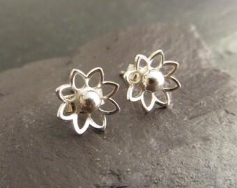 Silver Stud Earrings, Small Silver Studs, Flower Earrings, Sterling Silver, Post Earrings, Silver Jewellery UK, Last Minute Gift UK